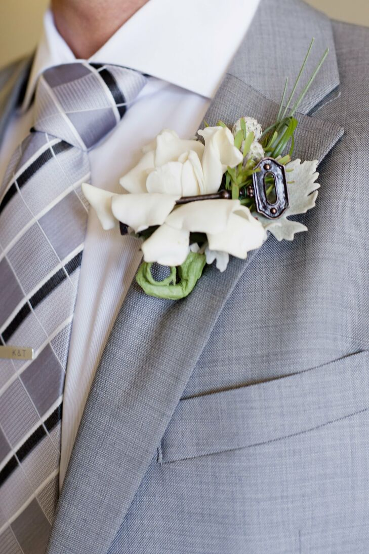 White Boutonniere with Key Accent