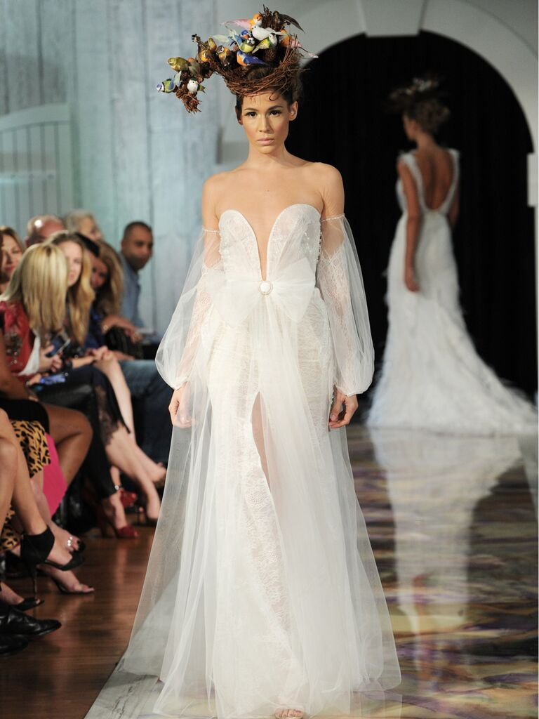 Dany Mizrachi Fall 2019 off-the-shoulder bell sleeved tulle wedding dress