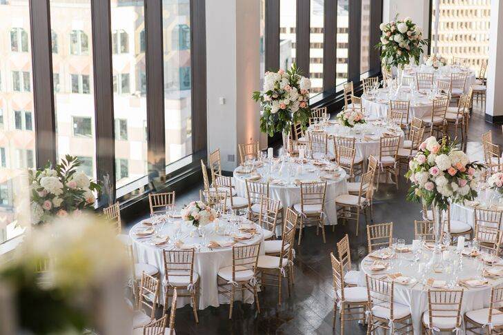Round Reception Tables at Boston Penthouse Wedding