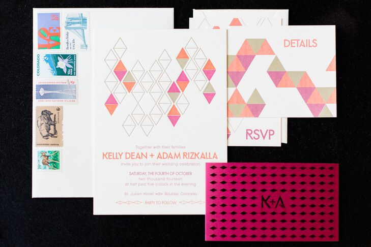 Kelly and Adam's custom invitation suite featured a geometric pattern inspired by the architectural shapes of the flower vases and a laser cut belly band. Kelly and Adam collected vintage stamps that had special meaning to them as a couple: a stamp of the Brooklyn Bridge since they live in New York.