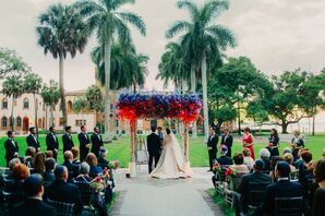 Ceremony Under Palm Trees and a Chuppah