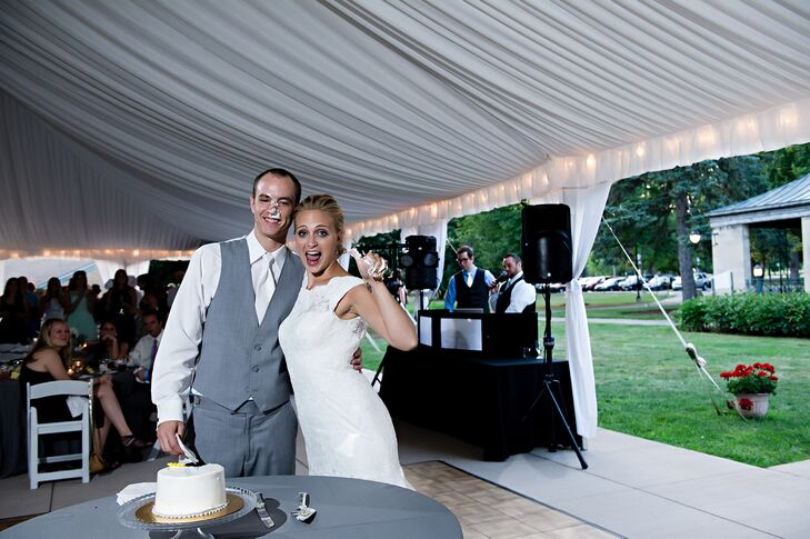 Whimsical Bride and Groom Smash Wedding Cake at Tented Reception