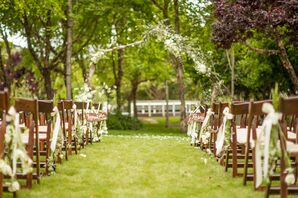 Outdoor Wedding Ceremony White Floral Arbor