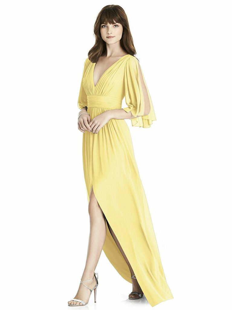 Yellow After Six spring bridesmaid dress with open sleeves