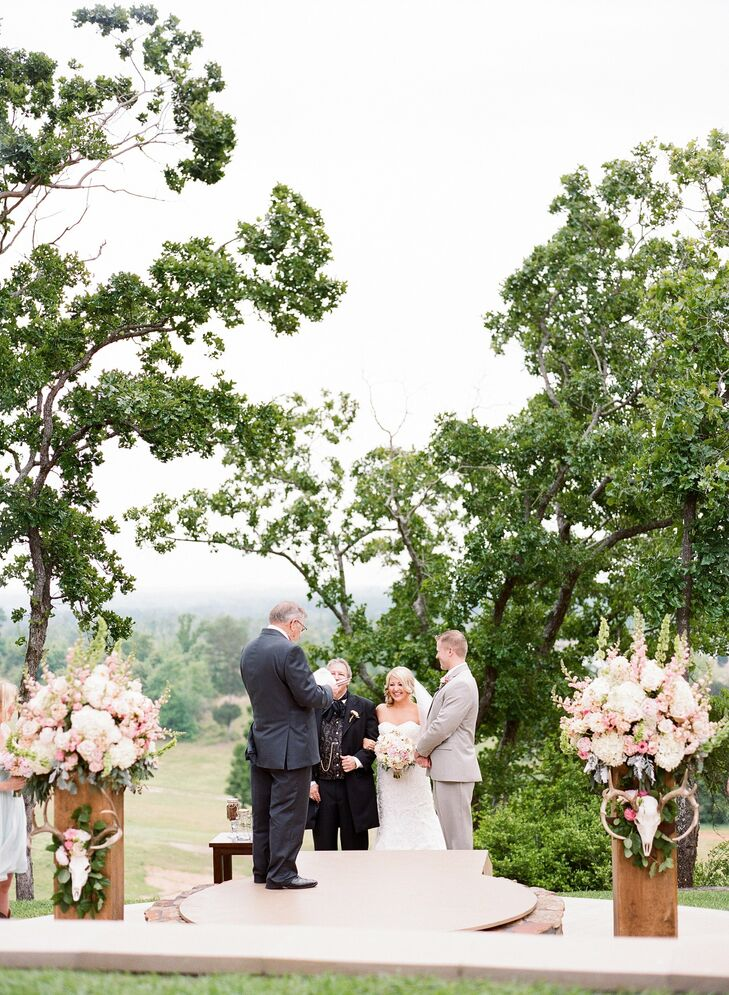 Up on a hill overlooking the valley below, Milly and Stephen exchanged vows in an intimate, outdoor ceremony.