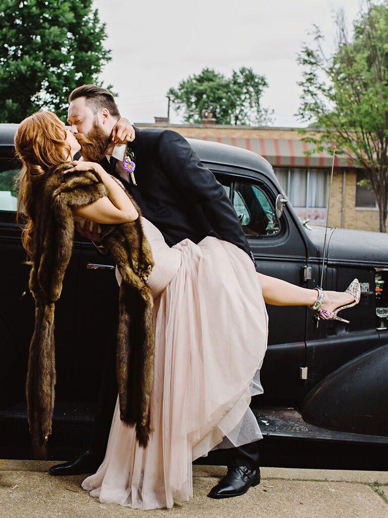 A couple kissing pose idea for wedding day photos