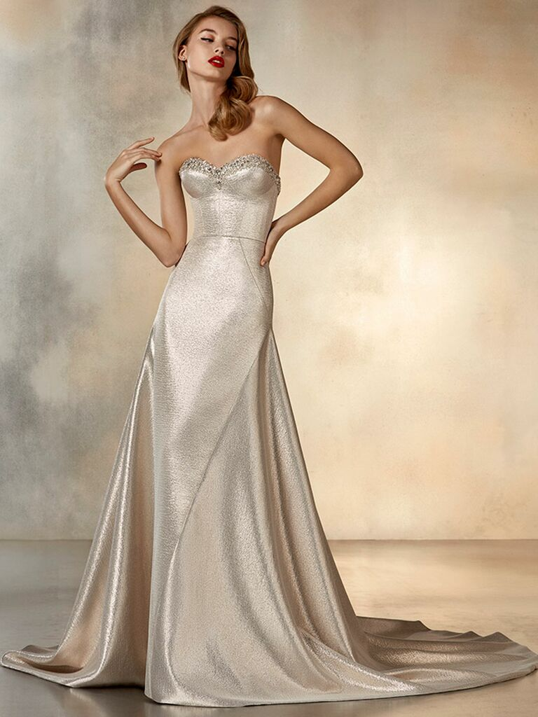 Atelier Provonias wedding dress champagne strapless a-line dress