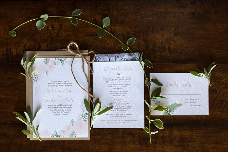 Leslie's maid of honor, Alexa, co-owns a company called Sage Paper Goods. She designed all the stationery, including these stunning invitations. She painted the floral watercolor design based on the flowers Leslie had chosen. The elegant type and custom art set the tone for the whole day.