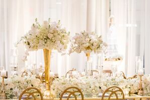Tall and Low Orchid, Garden Rose and Hydrangea Table Arrangements