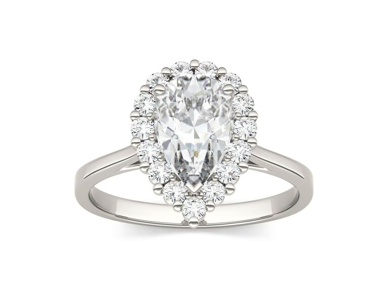 Charles & Colvard colorless halo pear mossanite engagement ring in 14K white gold
