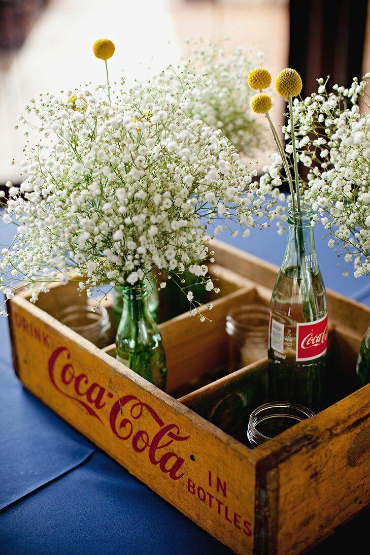 Coke bottle wedding centerpiece