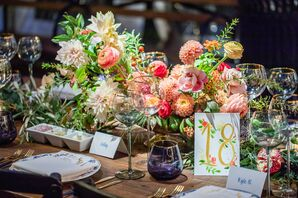 Pink Centerpieces with Dahlias and Roses