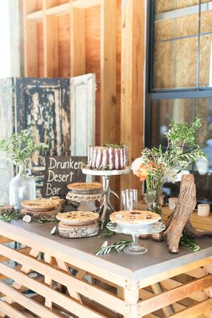 Rustic Dessert Table with Boozy Pies
