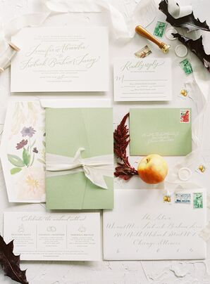 Classic Invitation Suite with Calligraphy and Mint Green Envelopes