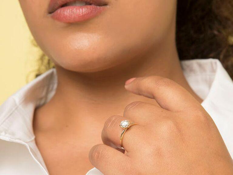 Lab grown diamond alternative engagement ring