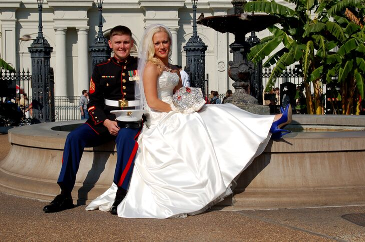 Marine Corps Bride and Groom in Jackson Square