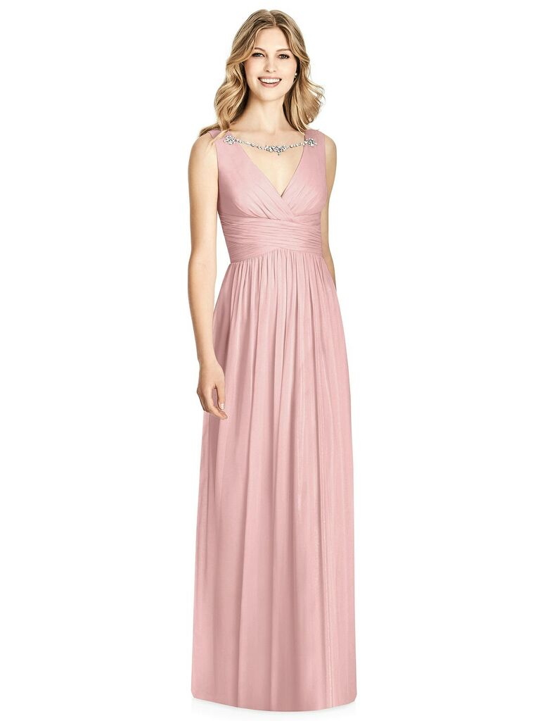 Embellished blush pink bridesmaid dress