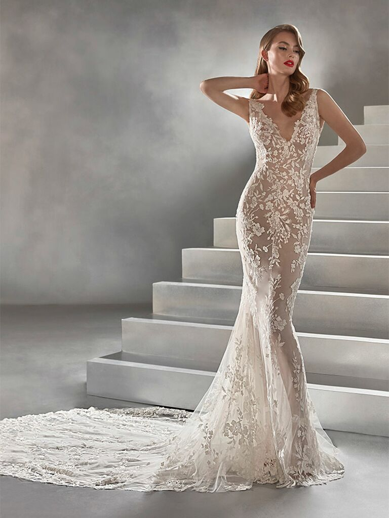 Atelier Provonias wedding dress sheer lace trumpet gown