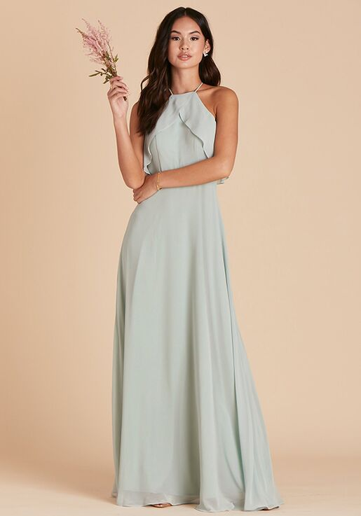 Birdy Grey Jules Chiffon Dress in Sage Halter Bridesmaid Dress