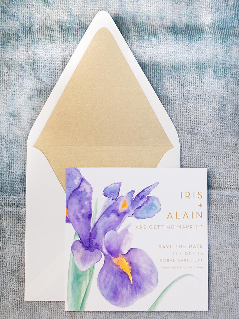 purple iris-themed engagements