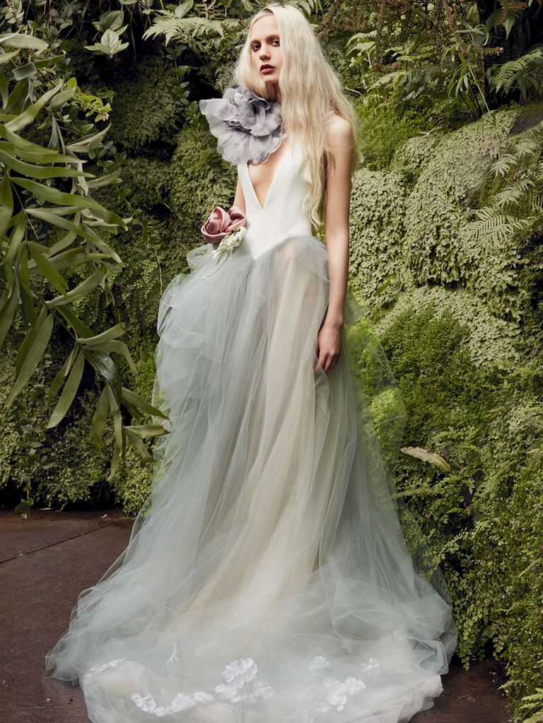 Vera Wang Spring 2020 Bridal Collection asymmetrical wedding dress with a V-neck and fitted bodice