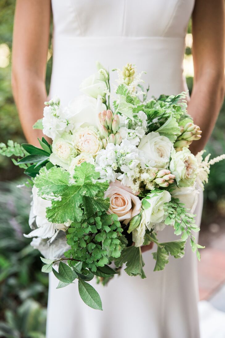 White and Blush Rose and Peony Bouquet