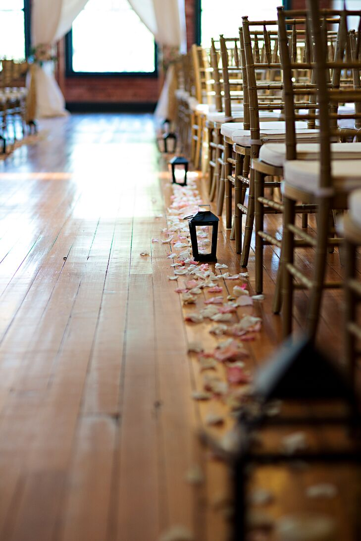 Rose Petal and Lantern-Lined Aisle