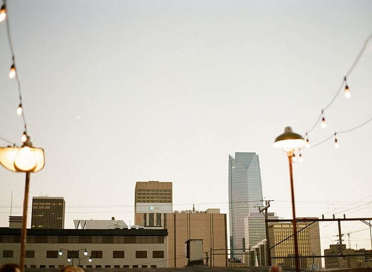 The rooftop space boasts views of the Oklahoma City skyline.