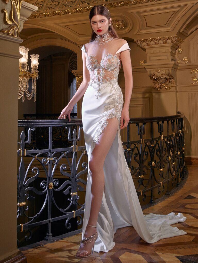 Galia Lahav Spring 2020 Bridal Collection sexy sheer wedding dress with high leg slit