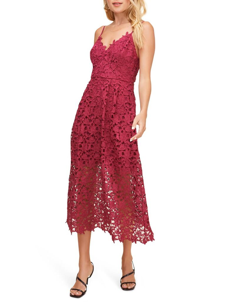 Berry red lace midi dress