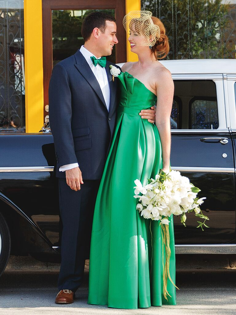 Green wedding gown by Carmen Marc Valvo