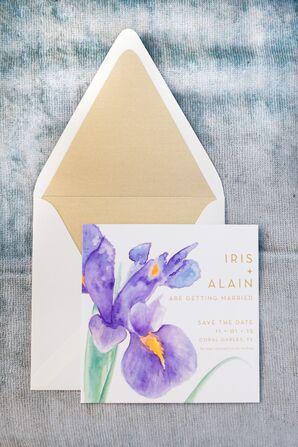 Modern Watercolor Iris Invitations