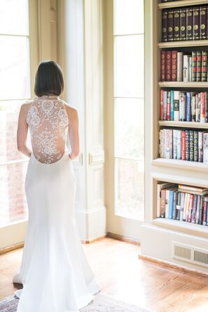 Wedding Dress with Dramatic Illusion Lace Back