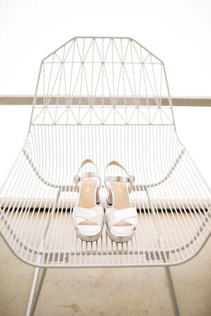 White Bridal Heels on Modern Chair