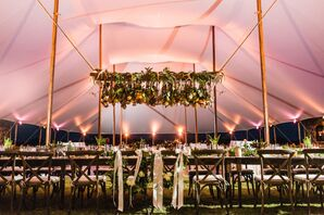 Dramatic Tented Reception with Hanging Flower Installation