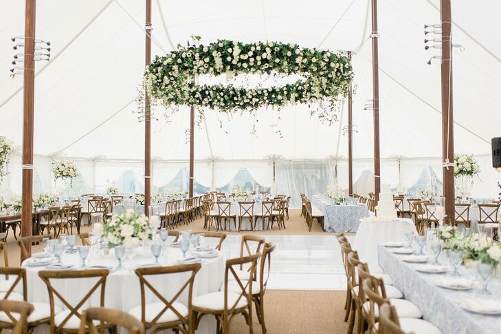 Classic, Rustic Tented Reception with Hanging Greenery Decoration