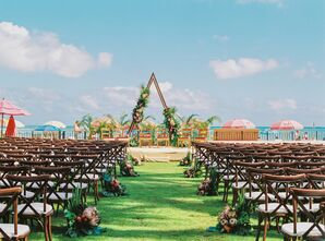 Outdoor Ceremony Setup with Triangular Altar Design