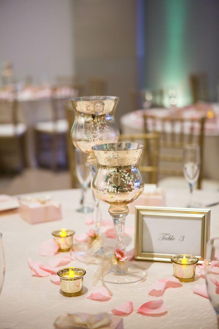 Mercury Glass Candleholder Centerpiece with Pink Rose Petals