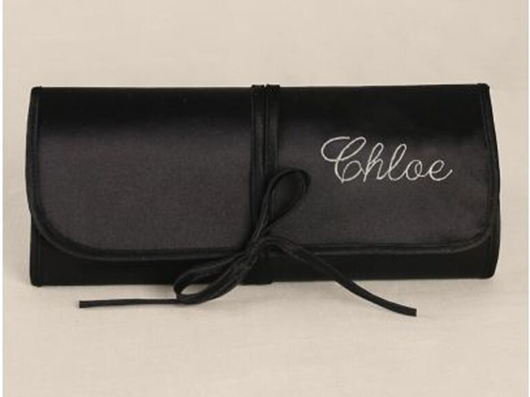 David's Bridal personalized embroidered satin jewelry roll