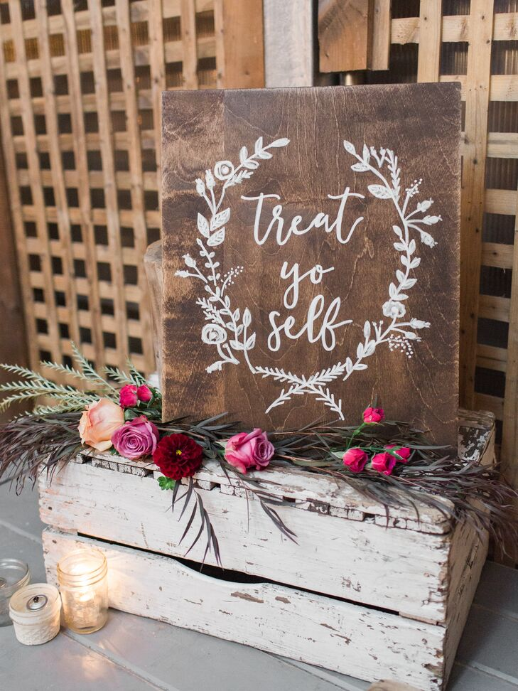 Rustic Wooden Sign with Personalized Message and Illustration
