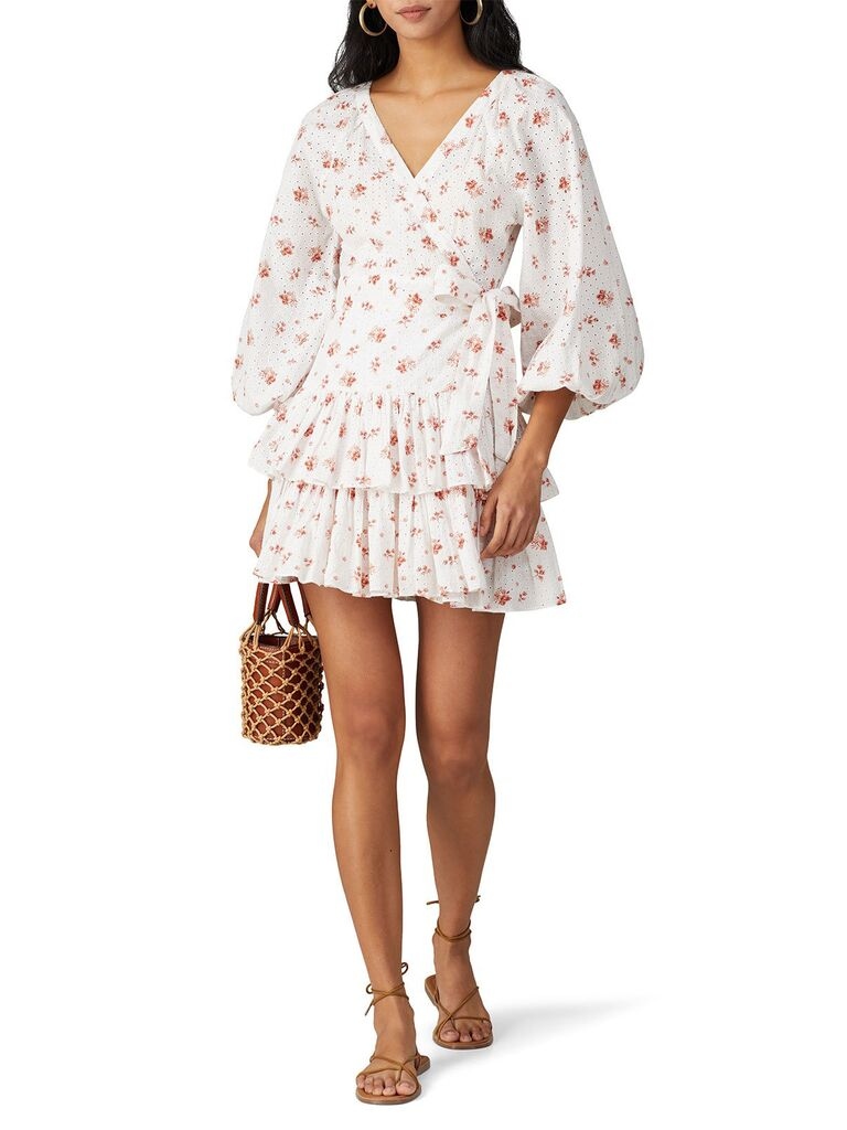 White and coral mini dress with long puff sleeves