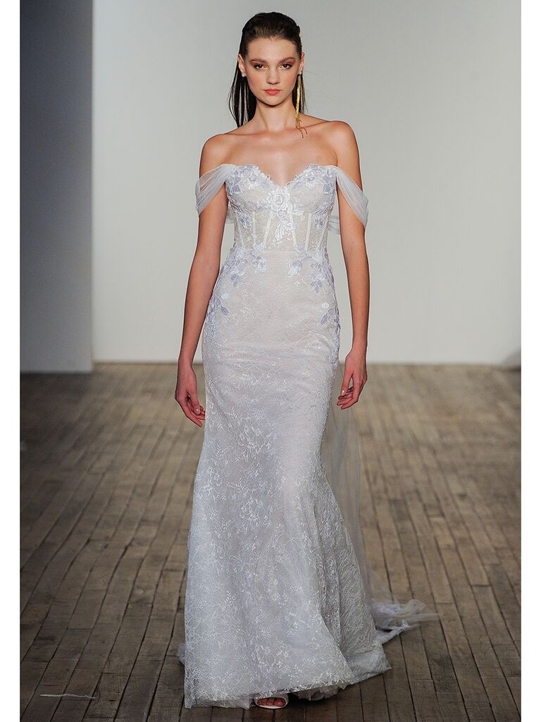 Hayley Paige wedding dress off-the-shoulder trumpet