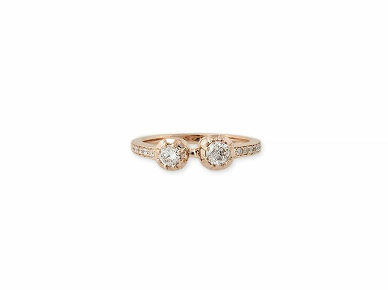 two stone ring with round diamonds in rose gold setting