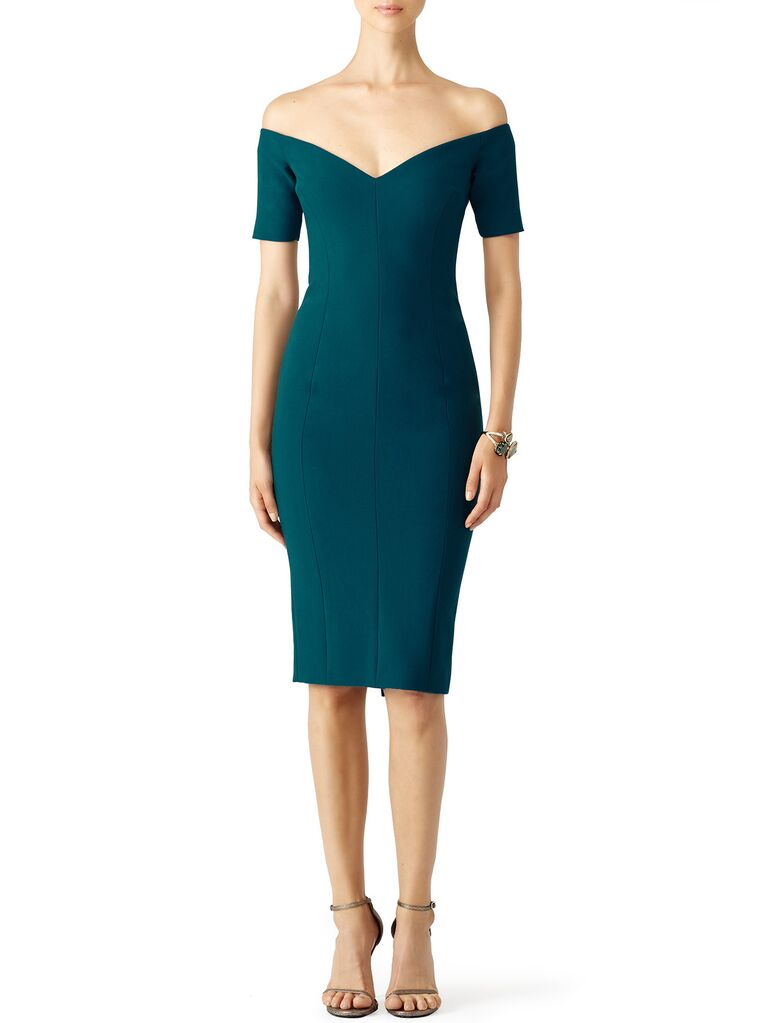 Green off-the-shoulder winter wedding guest dress