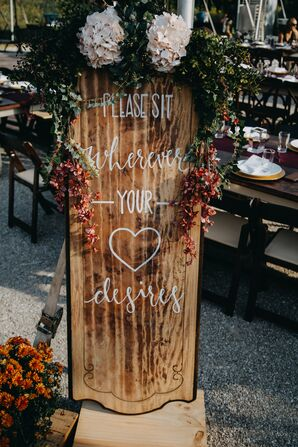 Hand-Crafted Wooden Seating Sign