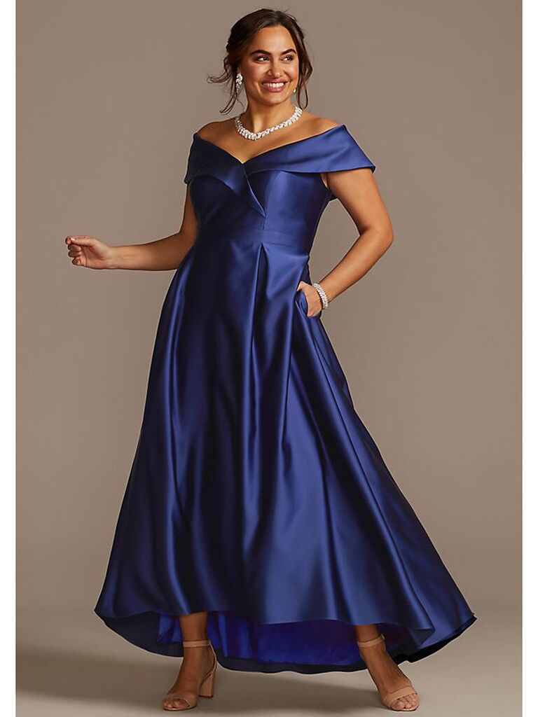 Satin ball gown with off-the-shoulder neckline