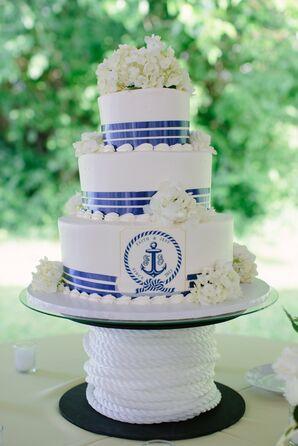Navy and White Cake