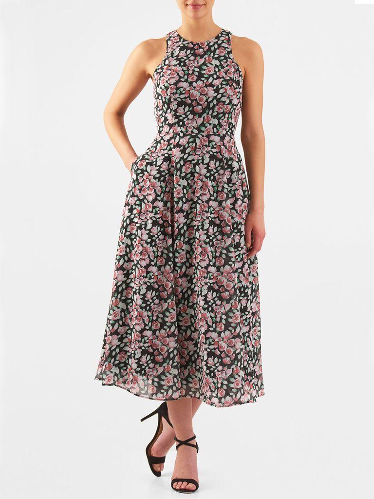 Perfect for summer weddings, eShakti Floral print racerback midi dress