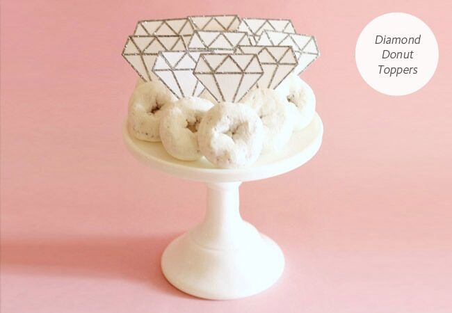 paper diamond doughnut toppers