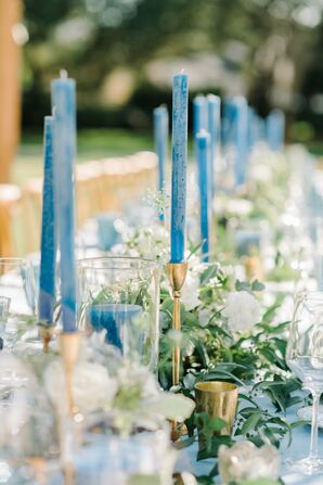 Blue Taper Candles in Thin Brass Candlesticks
